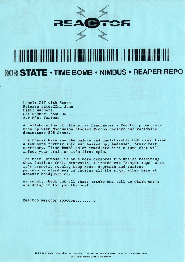 "808 State - Timebomb - UK Promo 12"" Single - Press Release"