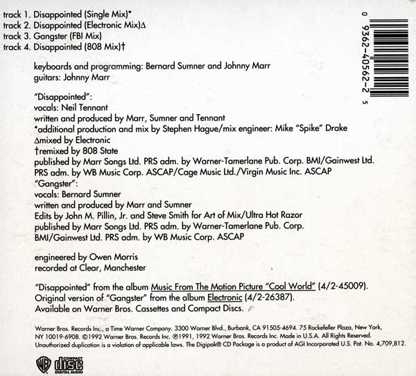 """Electronic - Disappointed (12"""" Remix / 808 Mix)"""