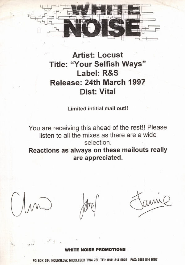 "Locust - Your Selfish Ways - Belgian Promo 12"" Single - Press Release"