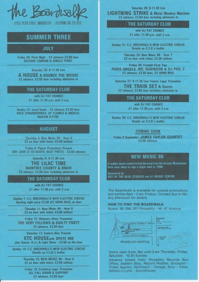 808 State - Manchester Boardwalk - 13 August 1988 - Boardwalk - Manchester - listing