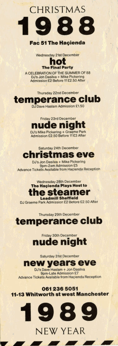 Hacienda, Christmas 1988 Flyer