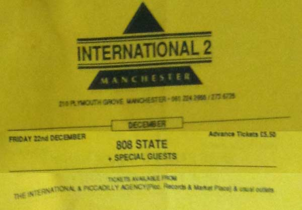 Fri 22:Dec - 808 State Live - International 2, Manchester, England