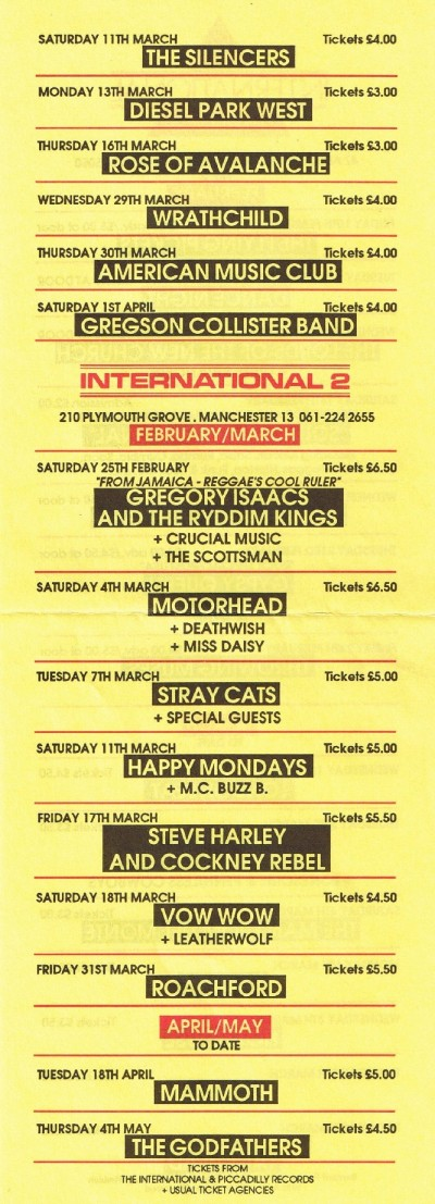 808 State Live - International 2, Manchester (supporting Happy Mondays and M.C. Buzz B.)