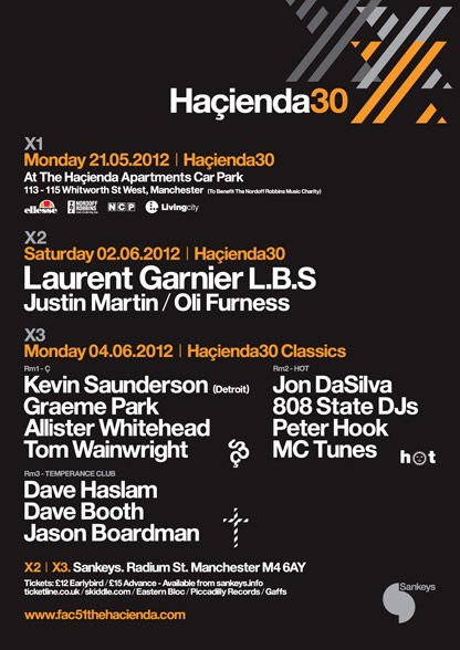 808 State DJs Hacienda 30 flyer 4 June 2012