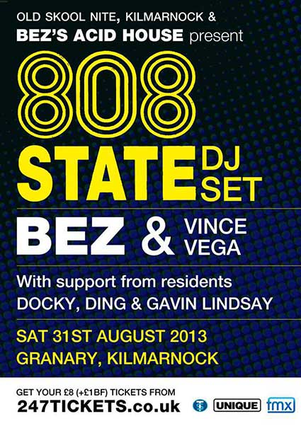 Baz Acid House flyer 31 Aug 2013 808 State DJs Kilmarnock