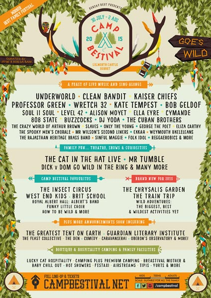 Camp Bestival 1 August 2015 flyer