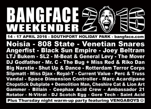 Flyer 808 State live April 2016 Bangface Weekender Stockport