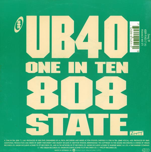 808 State vs UB40 - One In Ten