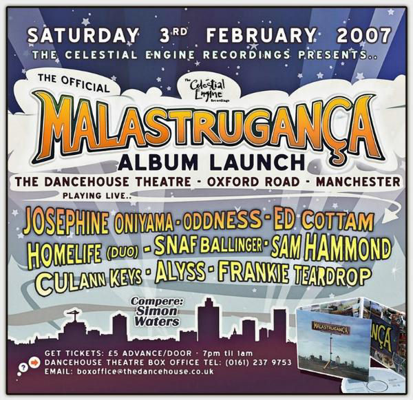Malastrugan�a - Album Launch Gig - Dancehouse Theatre - 3rd February 2007 - flyer