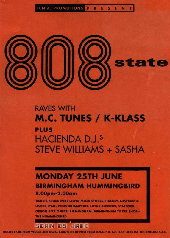 808 State Live - Hummingbird, Birmingham (with M.C. Tunes, K-Klass, Steve Williams & Sasha)