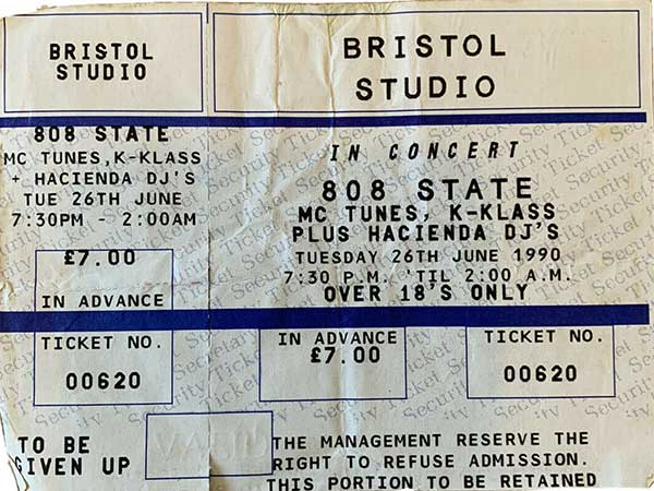 808 State, 26th June 1990, Bristol Studio- ticket