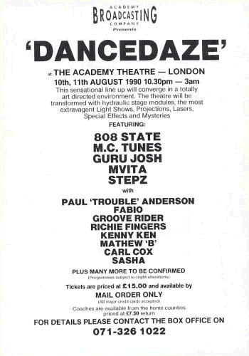 Dancedaze - Flyer - back