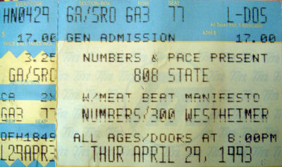 808 State and Meat Beat Manifesto - Numbers - Houston - 29th April 1993