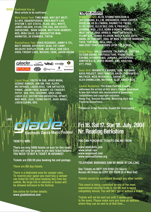 Fri 16:Jul - 808 State DJs - Glade Festival 2004  - Reading. Main dance stage
